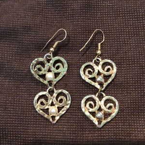 Vintage Double Heart with Pearl Dangle Earrings